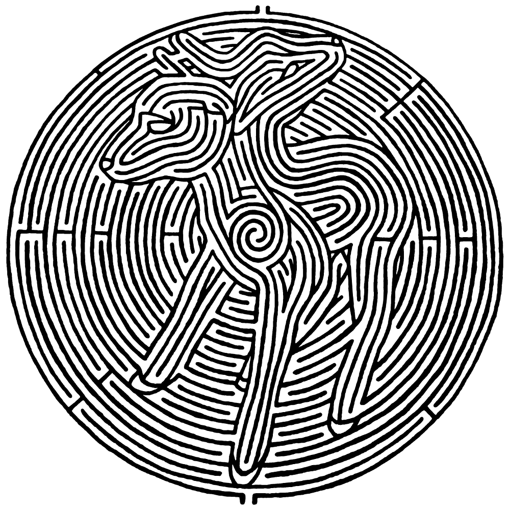 a circular maze with a two-headed lamb