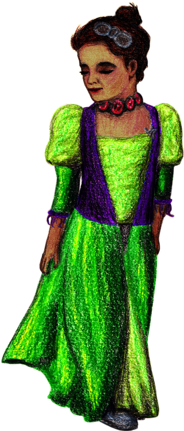 Adelaide in a fancy green dress