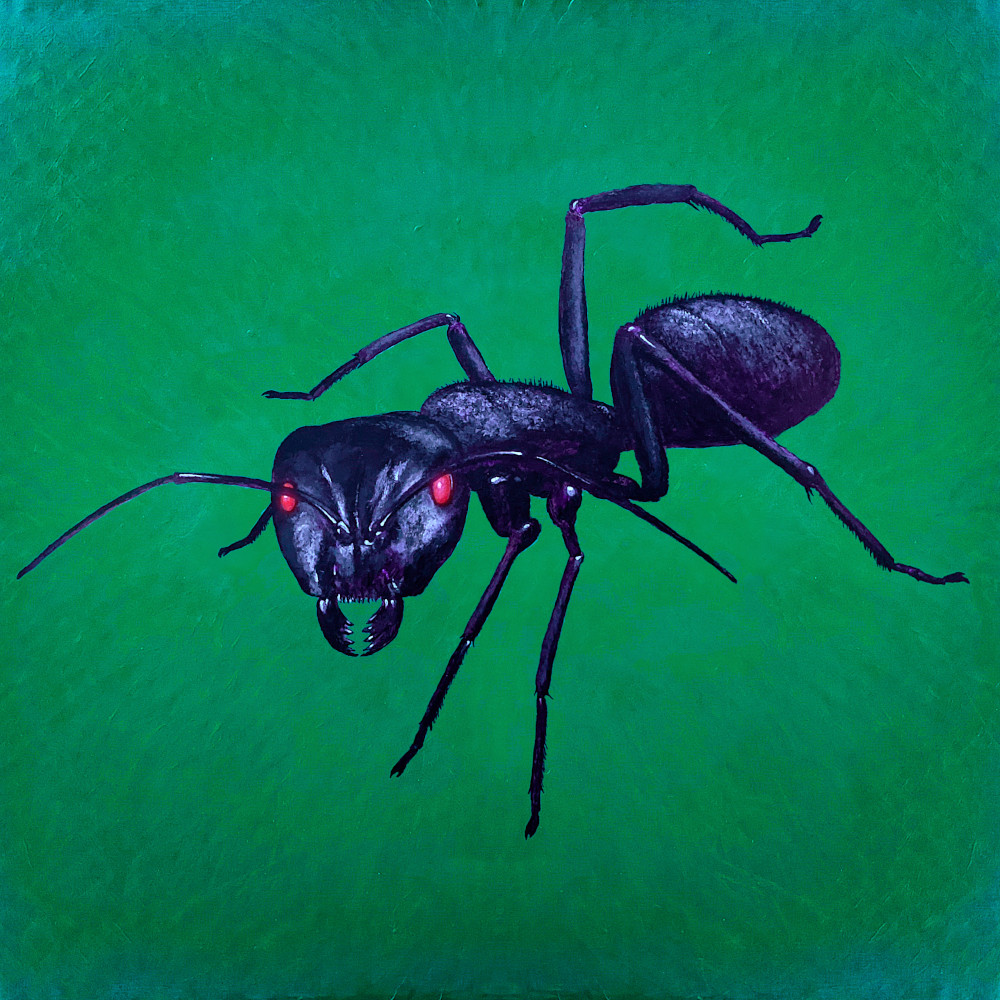 an ant with glowing eyes