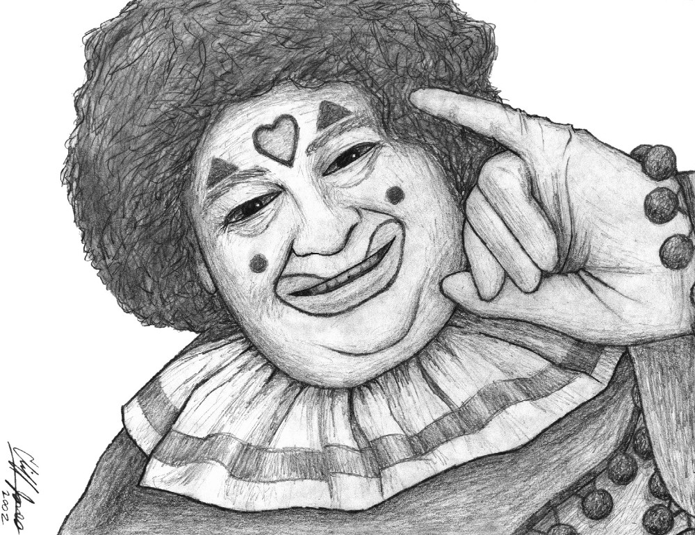 sketch of a clown named Pinky
